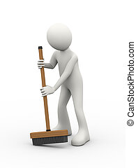 3d man cleaning with broom deck stick brush - 3d...