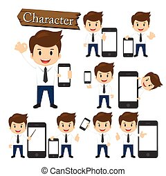 Businessman present phone character set vector