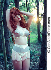 Sensual Woman in Lingerie Posing at the Woods - Sensual...