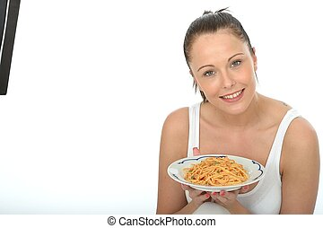 Attractive Healthy Young Woman Holding a Plate of Spaghetti