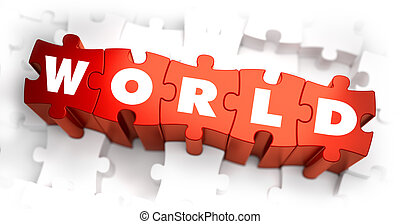World - White Word on Red Puzzles. - World - White Word on...