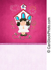 First Communion  reminder card for girl