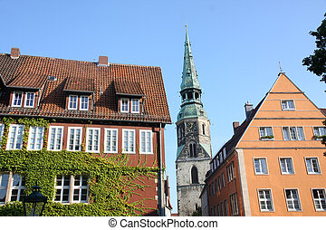 Hannover, Germany - View of Kreuzkirchhof, ancient buildings...