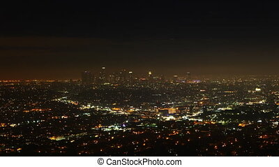 Timelapse of Los Angeles at night - A timelapse view over...