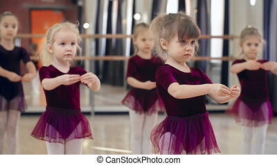 Learning to Dance - Close up of group of five girls doing...