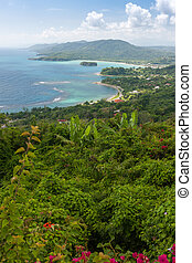Caribbean beach on the northern coast of Jamaica, near...