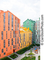 Aerial view on colorful buildings