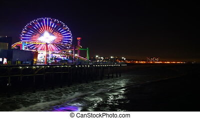 Santa Monica pier at night - A timelapse view of the Santa...