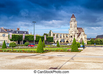 Caen. Normandy. Abbey exterior and gardens.