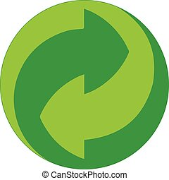 Green re-use icon vector - Green re-use icon