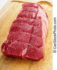 Raw Steak Roast - Fresh Raw Beef Steak Roast On A Wooden...