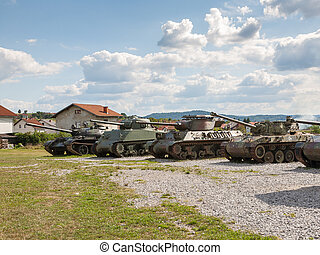 Old abandoned tanks, after war in Croatia - Old abandoned...