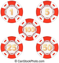 Print - Set of gambling chips rated Vector Illustration...