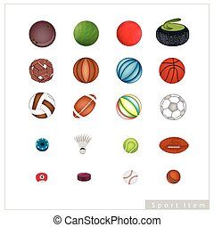 Collection of Sport Items on White Background - Illustration...