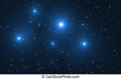 Space background with blue bright stars.