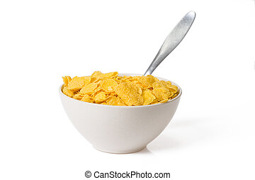 cornflakes in bowl on white background
