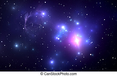 Space nebula with Supernova Explosion in the background