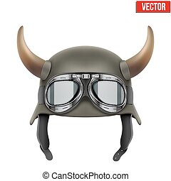 german_horn2 - German Army helmet with horns and protective...