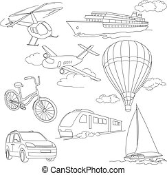 Travel set with car, air-balloons, ships, bike, helicopter,...