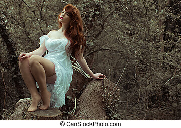 Sensual Woman in Dress Posing at the Woods - Sensual Woman...