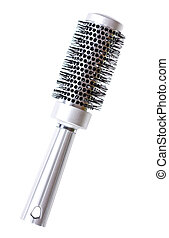 hairbrush - silver hairbrush on white background