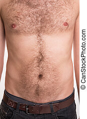 The man with hair on the chest and abdomen