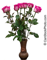 Bouquet of pink roses in vase on isolated white background