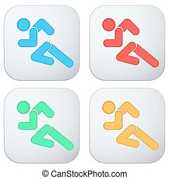 Set of Flat icon with symbol Running men. . Vector isolated...