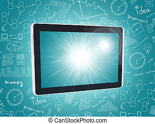 Black tablet on abstract blue background with sketches