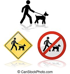 Leashed dog - Icon set showing a person walking a dog on a...