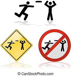 Frisbee signs - Icon set showing signs with people playing...