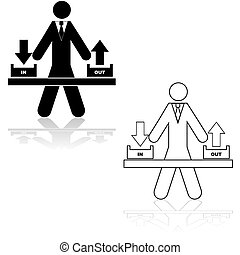 In and out boxes - Icon illustration showing a businessman...