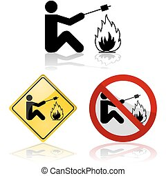 Marshmallow roasting - Icon set showing signs picturing a...
