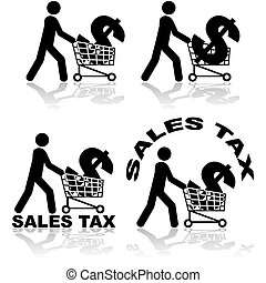 Sales tax - Concept illustration showing a man carrying a...