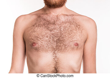 Chest of a man with hair - studio shoot
