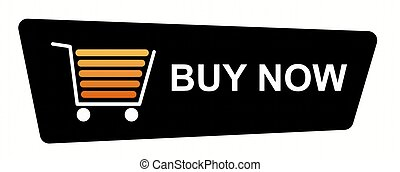 Buy Now Black - Buy now button with a shopping cart on white...