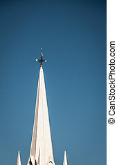 church spire - White church spire and weather vane in maine