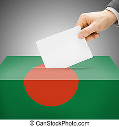 Ballot box painted into national flag - Bangladesh - Ballot...