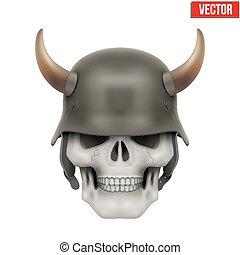 Human skulls with German Army helmet and horns Vector...