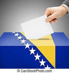 Ballot box painted into national flag - Bosnia and...