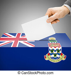Ballot box painted into national flag - Cayman Islands -...