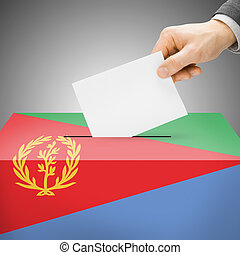Ballot box painted into national flag - Eritrea - Ballot box...