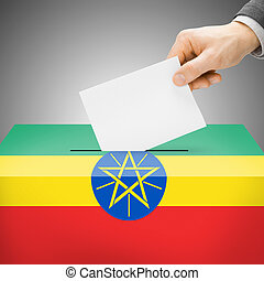 Ballot box painted into national flag - Ethiopia - Ballot...