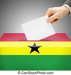Ballot box painted into national flag - Ghana - Ballot box...