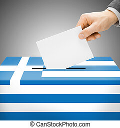Ballot box painted into national flag - Greece - Ballot box...