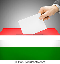 Ballot box painted into national flag - Hungary - Ballot box...