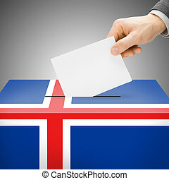 Ballot box painted into national flag - Iceland - Ballot box...