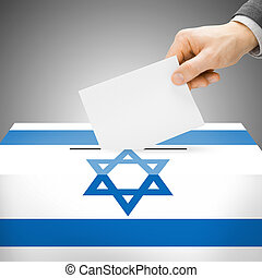 Ballot box painted into national flag - Israel - Ballot box...