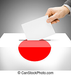 Ballot box painted into national flag - Japan - Ballot box...