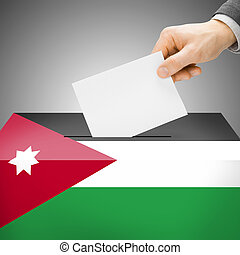 Ballot box painted into national flag - Jordan - Ballot box...